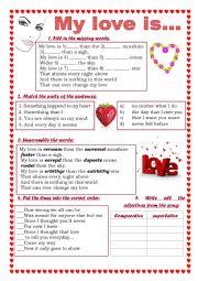 English Worksheet: My love is warmer