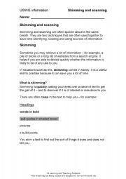 English Worksheets: Skimmin and Scanning