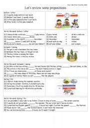 English worksheet: PREPOSITIONS review: before / after / between / among / during / for
