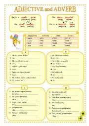 English Worksheet: ADJECTIVE and ADVERB