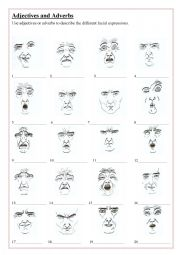 English Worksheet: Adjectives and/or adverbs - describe the facial expressions