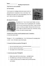 English Worksheets: Tree-Houses - Reading Comprehension