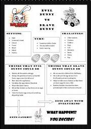 English Worksheets: Evil Bunny VS Brave Bunny Writing Task intermediate
