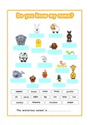 English Worksheets: Animals  for GESE grade 1-2