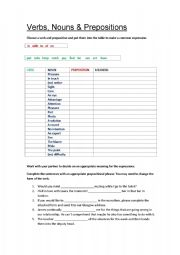 English Worksheets: Verbs, Nouns & Prepositions (with key)