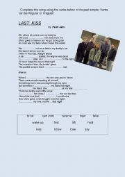 English Worksheet: Last Kiss - Pearl Jam