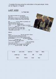 English Worksheets: Last Kiss - Pearl Jam