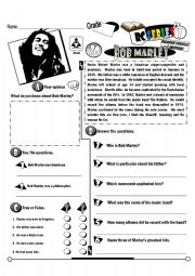 English Worksheet: RC Series Famous People Edition_20 Bob Marley (Fully Editable)