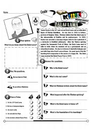 English Worksheet: RC Series Famous People Edition_18 Dalai Lama (Fully Editable)