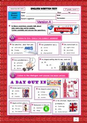 English Worksheet: TEST Jobs+Places in Town+Transports (Version A) 1/3
