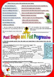 English Worksheet: Past Simple and Past Progressive (key included)