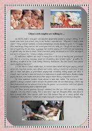 English Worksheet: China�s One-child Policy