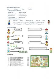 English Worksheets: EXERCISES FOR LEVEL 4 AND 5