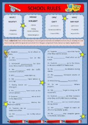 English Worksheet: Modal Verbs - School Rules