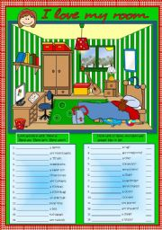 English Worksheets: I love my room - There is / There are
