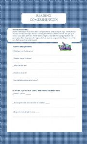 English worksheet: reading passage ,the present simple