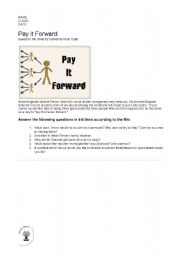 Pay It Forward Movie Writing Worksheet on pay it forward movie ...