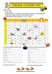 English Worksheets: Create a funny pet! GAME