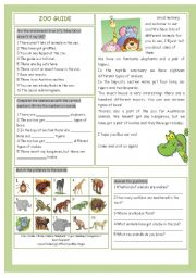 English Worksheets: Zoo Guide
