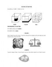 English teaching worksheets: States of matter