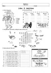 English Worksheets: body and colors
