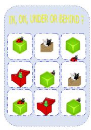 English Worksheets: IN, ON, UNDER OR BEHIND