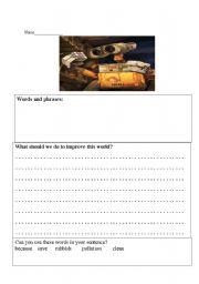 English Worksheets: Wall-E Movie Worksheet - Writing