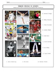 English Worksheet: Sports Heroes Matching Type