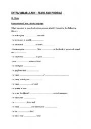 English Worksheets: Vocabulary Fears and Phobias I