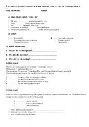English worksheet: simple past tense and could