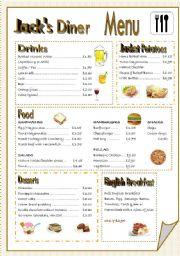 English Worksheet: At a restaurant. MENU.