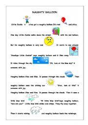 English Worksheets: naughty balloon