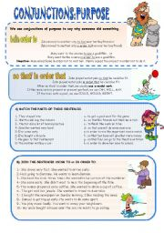 English Worksheets: CONJUNCTIONS OF PURPOSE