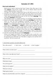Worksheets September 11 Worksheets english teaching worksheets simple past september 11th 2001