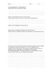 English Worksheets: Student Planning Page for Article Presentation
