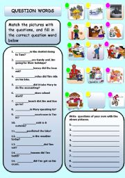 English Worksheets: QUESTIONS, WHO, WHAT, WHERE WHEN, WHY, HOW ETC.