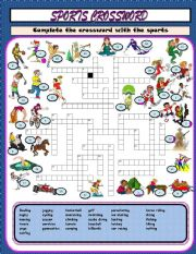English Worksheet: Sports crossword