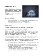 English Worksheet: IELTS Academic Writing task 2 Technology and Tradition