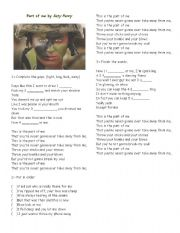 English Worksheets: Part of me - Katy Perry