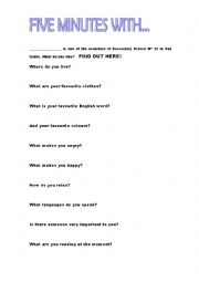 English Worksheets: FIVE MINUTES WITH....