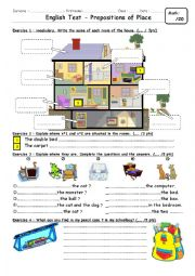 English Worksheet: test on prepositions & house parts