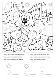 Easter bunny color& count for young learners