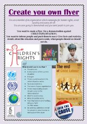English Worksheets: Child Labour - Create your own flyer