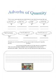 English Worksheet: quantity adverbs