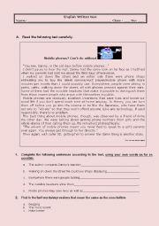 English Worksheet: test -  mobile phones
