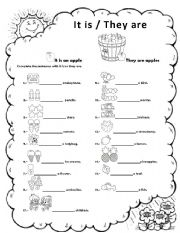 ESL kids worksheets: it is / they are