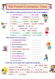 English Worksheet: Let�s Practise Present Continuous Tense