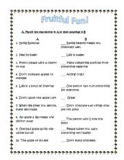 English Worksheets: fruitful fun (expressions)