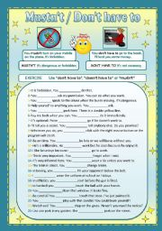 English Worksheet: Mustn�t / Don�t have to
