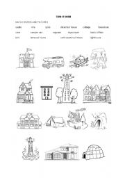 English Worksheet: An exercise on types of houses